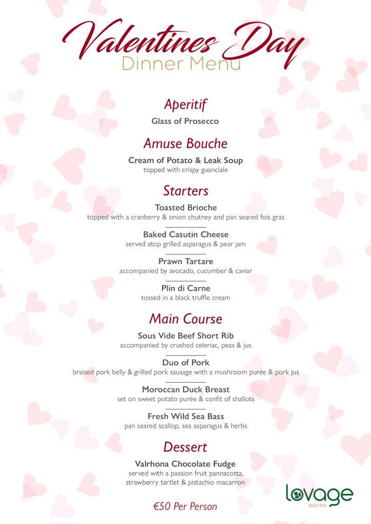 Lovage Bistro Valentines Menu 2020