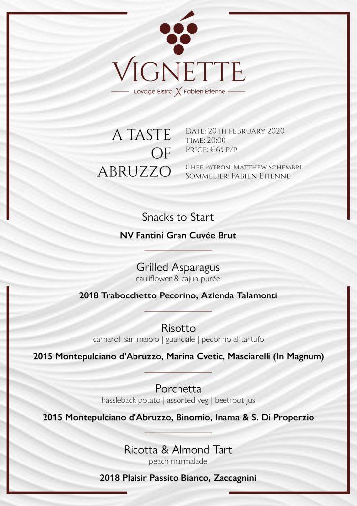 Vignette - a Taste of Abruzzo menu